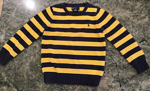 Polo Ralph Lauren Boys STRIPED Crew neck Cable Sweater SIZE 6 PREOWNED EUC