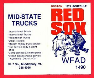 MLB BASEBALL 1979 BOSTON RED SOX pocket schedule WFAD 1490 VERMONT MID-STATE