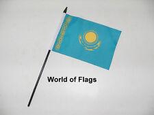 "KAZAKHSTAN SMALL HAND WAVING FLAG 6"" x 4"" Asia Asian Crafts Table Desk Display"