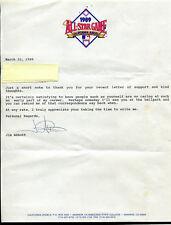 1989 Jim Abbott Autographed Personalized Fan Reply Letter