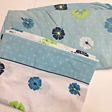 Twin Set Bedding Fitted Flat Sheets Hawaiian Floral Polka Dot Hibiscus Aqua