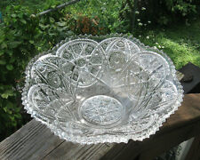 Old Bowl Pressed Glass Wonderful Design Heavy Well Made Vintage Item