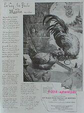 PUBLICITE LA MONTRE ZENITH LE COQ LA POULE LA FONTAINE JEAN CAROL DE 1915 AD PUB
