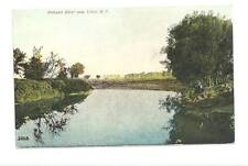 UTICA NY Mohawk River Scene Man on Shore Vtg Postcard