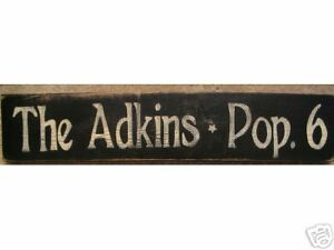 Custom Personalized FAMILY NAME + POPULATION Number Sign Plaque Wooden HP Rustic