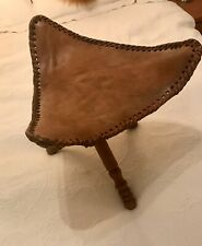 Handmade Artisan Wood and Leather Tripod Stool Sri Lanka