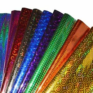 Plastic Holographic Metallic Gift Paper Wrapping Sheets 65 cm X 45 cm 25-Sheets