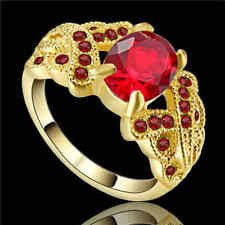 Ring Size 8 Red Ruby Zircon Women's 10kt Yellow Gold Filled Engagement Free