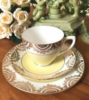 Vintage Diane Springfield Bone China Tea Cup Saucer Side Plate yellow Gold RARE