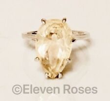 Large Unique Angel Citrine Pear Gemstone Solitaire Ring 925 Sterling Silver