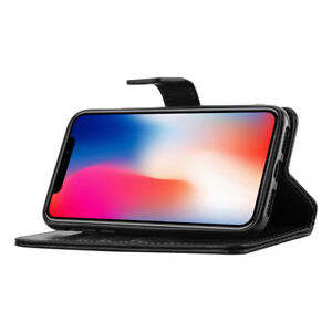 NEW Apple iPhone X / 10  Leather Case Flip  Wallet Card Slots Cover - Black