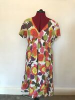 Boden Dress Size 12R Cotton Floral Print Colourful Autumn Short Sleeved Classic