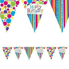 BRIGHT AND BOLD HAPPY BIRTHDAY PAPER BANNER FLAG BUNTING STRIPES POLKA DOTS