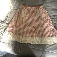 Anthropologie Skirt Pink Houndstooth Size 10