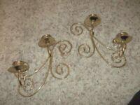 """Vintage Gold Candle Sconces 8 x 10"""""""