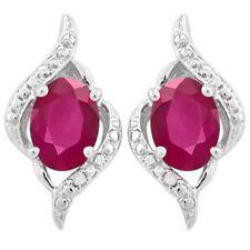 Ohrringe/Ohrstecker Ariane, 925er Silber, 2,2 Kt. afrikanischer Rubin/Diamant