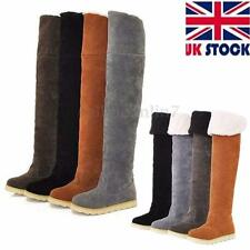 WOMENS LADIES WINTER WARM FLAT HEEL OVER THE KNEE THIGH HIGH SUEDE BOOTS SIZE