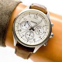 Fossil Womans Watch CH2795 Silver Chronograph Dial Brown Leather 100m Working
