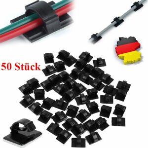 50 x cable de alambre de cables titular TIE clip Fixer organizador Drop adhesivo
