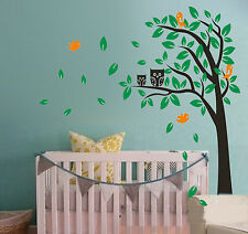 Wall Stickers owl tree branch large Decor vinyl Decal Removable Nursery Kid Baby