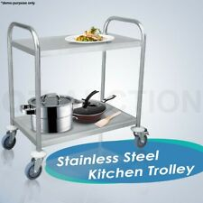 Stainless Steel Kitchen Dining Service Food Utility Trolley Cart 2 Tier