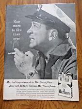 1958 Marlboro Cigarette Ad  Sea Man Captain Man with Tatoo