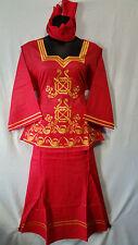 Women Clothing African Dashiki Skirt Suit Attire Boho Red Free Size Print #9316