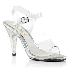 PLEASER FABULICIOUS Caress-408MG Clear/Glitter Drag Queen Ladies Sandals