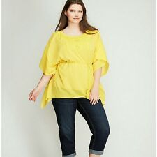 8765ec5e2190c Lane Bryant Gauze Yellow Blouse Top 26 28 Beads   Sequins on Chest 4x