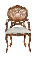 Hampton French Rattan Chair with Cream Linen Upholsterey NEW CHRW002