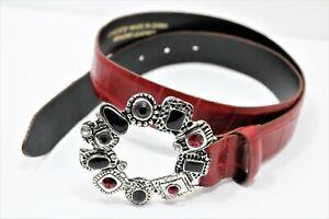Women's Chico's genuine Leather maroon Belt SZ S silver tone w/ stone Buckle