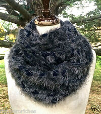 "Infinity Scarf Leopard Furry Soft gray navy blue animal print knit 59"" x 12"" NEW"
