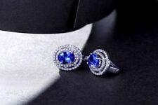 18ct White Gold Stunning Natural AAAA Tanzanite and Diamond Earrings VVS