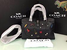 COACH Medium Mercer Satchel 30 with Souvenir Embroidery 57078 Black