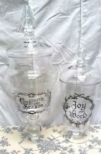 Victorian Trading Co 2 Holiday Christmas Apothecary Glass Jars 35D