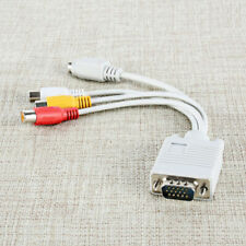 VGA SVGA to S-Video 3 RCA AV TV Out Cable Adapter Converter PC Computer Laptop