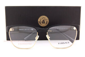 Brand New VERSACE Eyeglass Frames VE 1264 1436 Gold/Black For Men Size 54mm