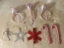Lot Vintage Christmas Ornaments, Some Handmade, 8 pcs.
