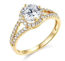 2.15 Ct Round Cut Engagement Wedding Ring Halo Split Shank Real 14K Yellow Gold