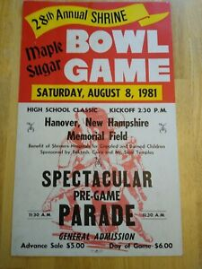 1981 Shrine Bowl Football Game Poster - Hanover NH