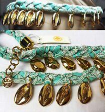 $225 TORY BURCH Puka Shell Blue Woven Charm Short Necklace Pendants Women Lady