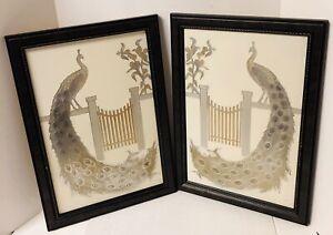 "Vintage Art Peacock Prints Art Deco Embossed Etched Metal Aluminum 20""x14"""