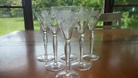 Cordial Liqueur Glasses Etched Optic Panel Floral Design 6 4 ounce elegant stems