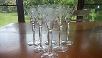 Etched Cordial Liqueur Glasses Optic Panel Floral Design 6 4 ounce elegant stems