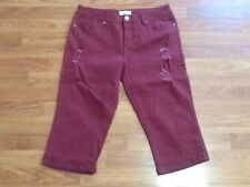Womens Royalty For Me Capri Cropped Distressed Pants Size 12 Maroon