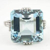 925 Silver Huge 5.6CT Aquamarine Gemstone Wedding Bridal Ring Women Man Size6-10
