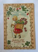 """"""" Niños, Korb , Hoja Trébol, Flores, Modernismo"""" 1900 , Postal Relieve (24075)"""