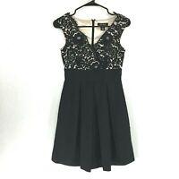 White House Black Market 00 Dress XXS Lace Top Champagne Lined Pleat Pocket NICE