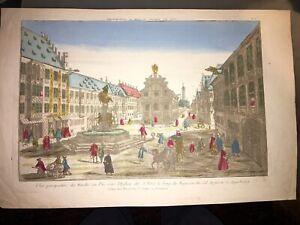 AUGSBOURG. MARCHÉ AU VIN. OENOLOGIE (VUE D'OPTIQUE FIN XVIIIéme).