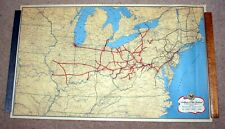 "1944, OLD 33""x 20"" WALL MAP, BALTIMORE & OHIO RAILROAD, NORTHEASTERN ROUTES, EX!"